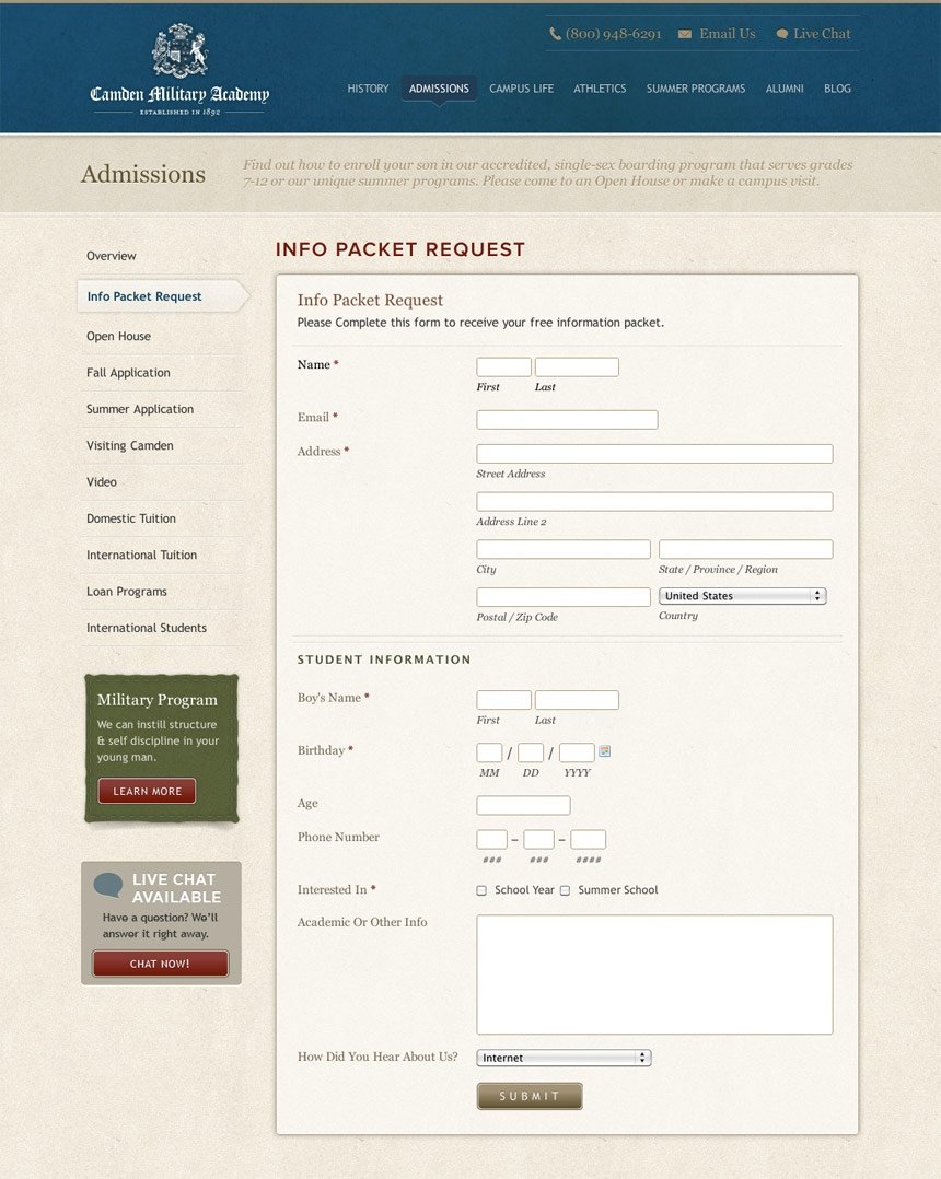 Camden Military Application Form