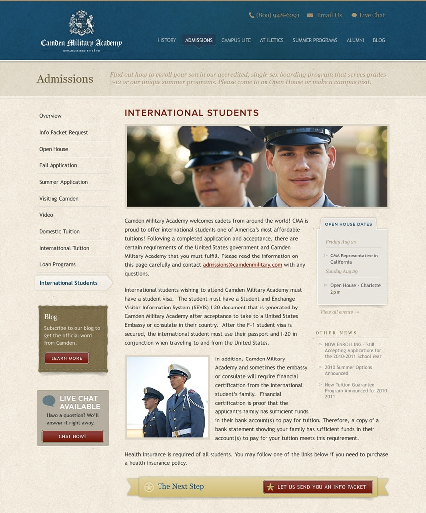 Camden Military Secondary Page
