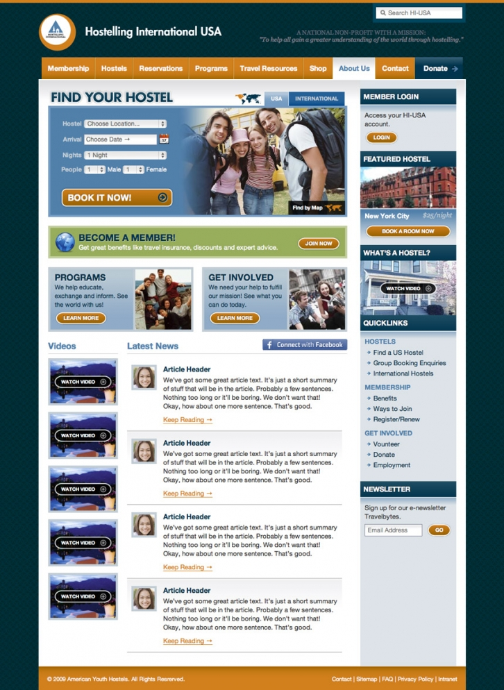 Hostelling International Homepage