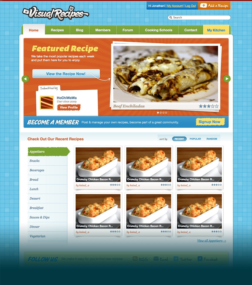 Visual Recipes Homepage