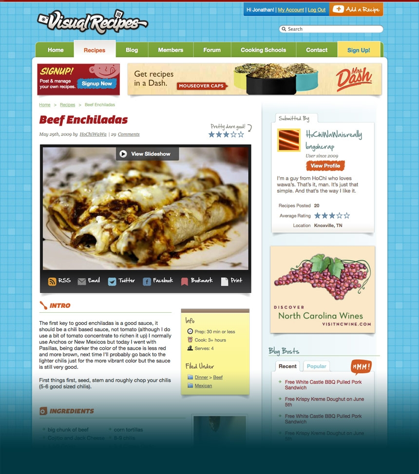 Visual Recipes Recipe Page