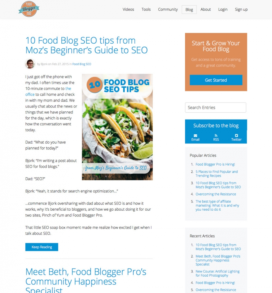 Food Blogger Pro Blog