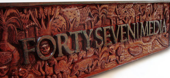 FortySeven Media Logo Handcarved