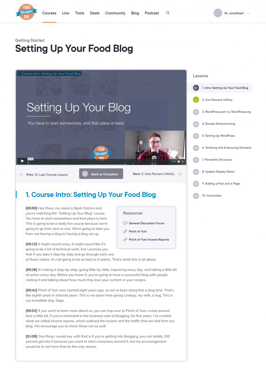 Food Blogger Pro Lesson Detail