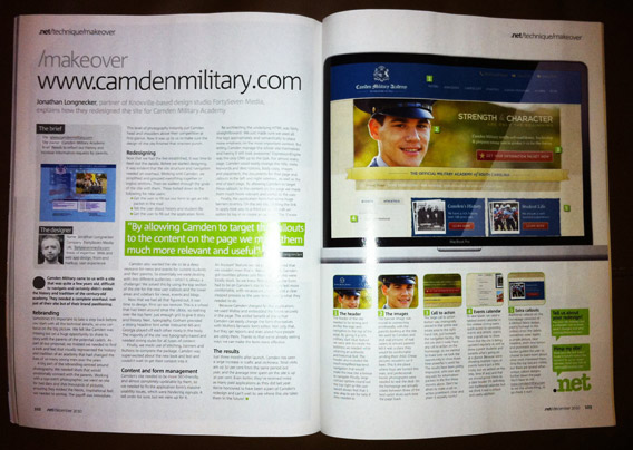 .net FortySeven Media article - Camden Military Re-design.